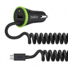 Belkin USB micro nabíječka do auta 2.4A+1A, vč. microUSB kabelu, černá
