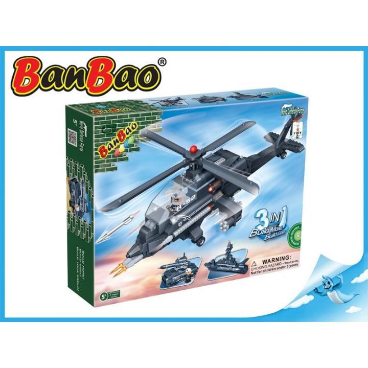 BanBao stavebnice Defence Force vrtulník, loď, raketomet 3v1 295ks + 2 figurky ToBees