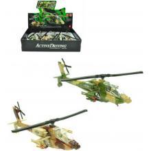 Helikoptéra vojenská 20cm na baterie zpětný chod Světlo Zvuk 2 barvy kov