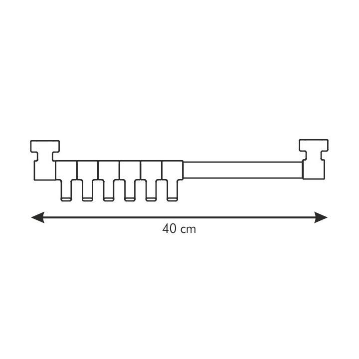 Tescoma Závěsná lišta PRESTO 40 cm, 6 bílých háčků