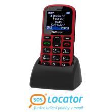 Aligator A321 Senior červený + stolní nabíječka Mobilní telefon