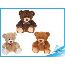 Medvěd plyšový 25cm s mašlí 3barvy 0m+