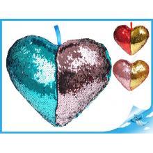 Polštářek ve tvaru srdce s flitry 30x25cm 3barvy