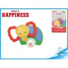 Kousátko slon s chrastítkem 11cm Baby´s Happiness 3m+