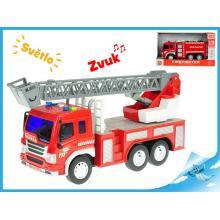 Auto hasičské 27cm 1:16 na setrvačník na baterie se světlem a zvukem 2druhy