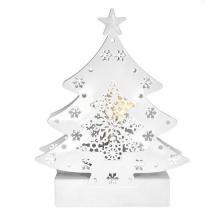 Solight LED kovový vánoční stromek bílý 2LED, teplá bílá