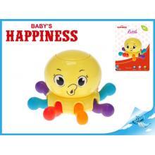 Chobotnice pískající 7x10cm pohyblivá chapadla/otočná hlava Baby´s Happiness 3m+