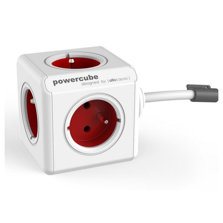 Powercube Extended prodlužovací kabel 3 m, 5 zásuvek červená/béžová