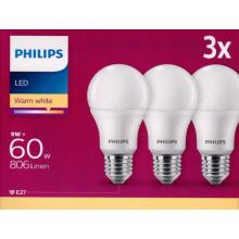 Philips LED žárovka  E27 9W 2700K 230V A60 SET 3ks
