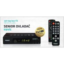Maxxo STB T2 certifikovaný přijímač DVB-T/T2 + senior ovladač