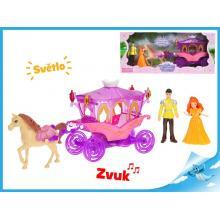 Kočár s koněm 29cm s princeznou a princem 10cm na baterie