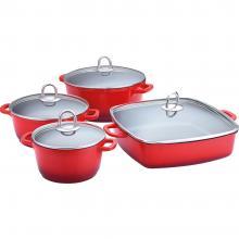 LAMART Keramický set nádobí 8ks červený
