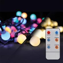 SOLIGHT LED vánoční řetěz koule, dálk.ovládání, 100LED RGB+bílá 8funkcí