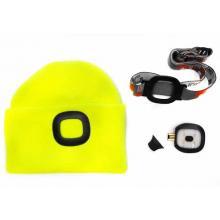 Čepice s LED světlem eflexní žlutá