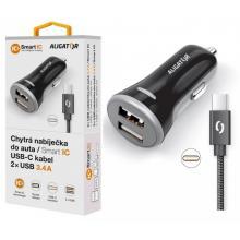 Aligator Nabíječka do auta  USB-C 2xUSB výstup, 3.4A, smart IC
