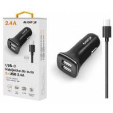 Nabíječka do auta ALIGATOR USB-C s 2xUSB výstupem