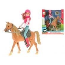 670029 Kůň 26cm s jezdkyní 21cm