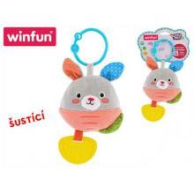 WINFUN Chrastítko/kousátko králíček plyšový 17 cm šustící 2802