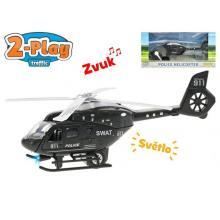 Mikro Trading Vrtulník policejní 22cm kov 2Play na zpětný chod na baterie se světlem a zvukem