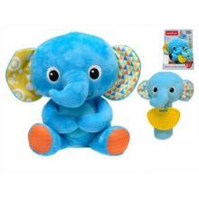 Winfun plyšový kamarád 21cm slon sedící s chrastítkem a kousátkem slůně