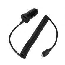 GoGEN CH 24 CC, 1x USB + kroucený microUSB kabel 1,2m, černá barva Autonabíječka